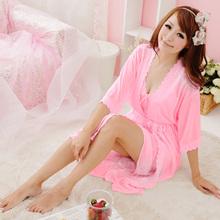 Women Sling Lingerie Sleepwear 2pcs sleep Dress Silk Robe Nightgown Nightdress(China (Mainland))