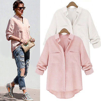 New fashion women long sleeve casual blouse 2015 white for Womens white button down shirt