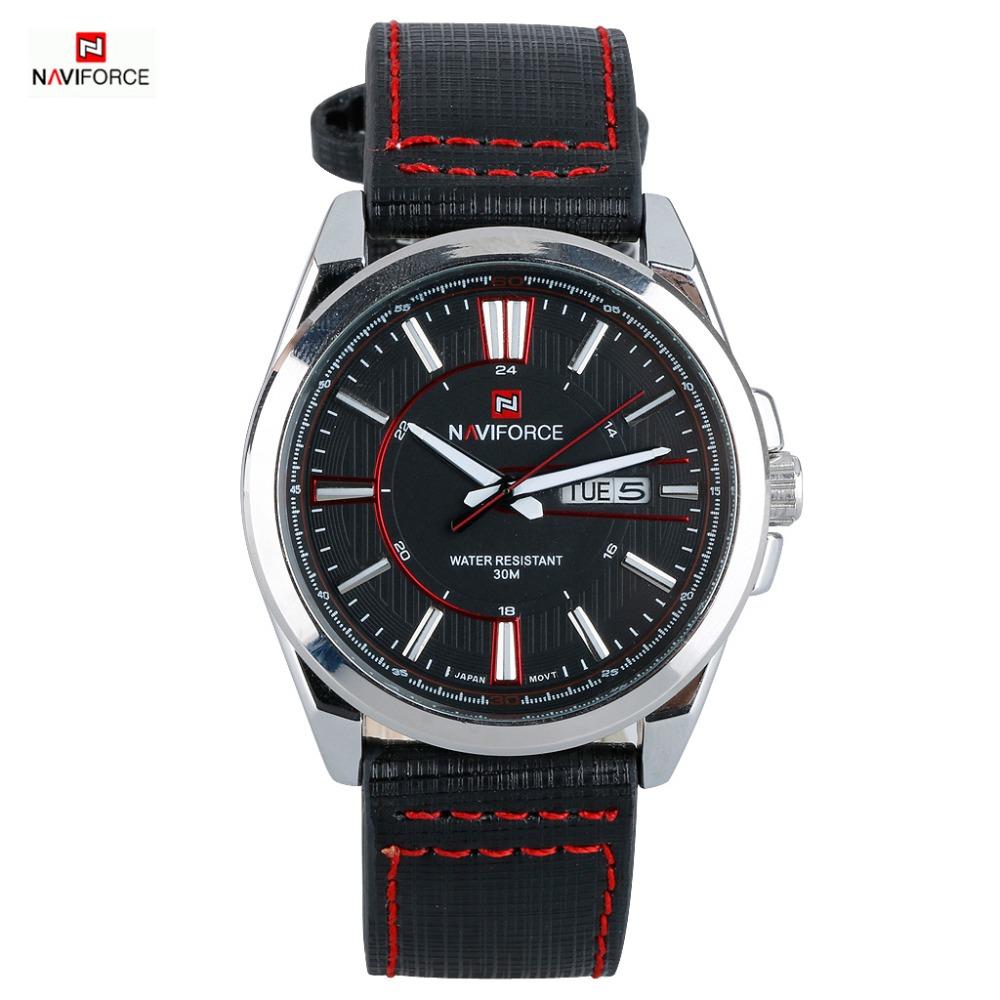 2016 Luxury Brand NAVIFORCE Genuine Leather Strap Date Mens Quartz Watch Sports Watches Men Wristwatch Clocks relogio masculino<br><br>Aliexpress