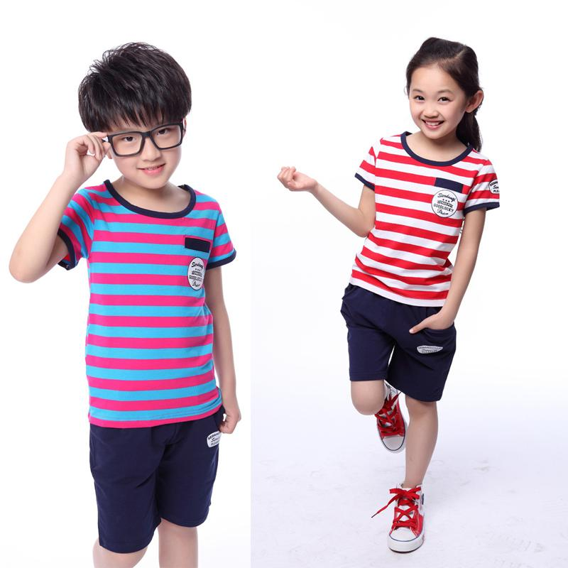 2015 New Boy Girl Summer Style Striped Suits 3 4 5 6 7 8 9