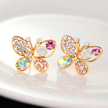 Cystal Simulated Pearl Butterfly Stud Earrings Gold Hollow Colorful Cubic Zirconia Rhinestone Women Earring Jewelry Accessory(China (Mainland))
