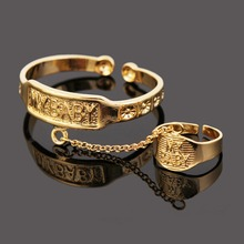 Baby Bangles With Ring For Boys&Gril Jewelry 24K Gold Plated Child Bangle Jewelry(China (Mainland))