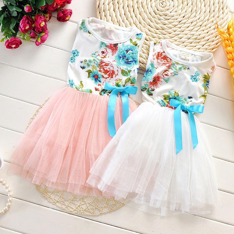 2015 explosion models summer paragraph flower child dress girls dress ribbon popular clothing kids new clothes Q0171(China (Mainland))