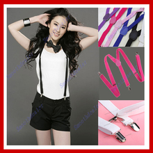 Free Shipping Unisex Clip-on Braces Elastic Y-back Suspenders 7 color for you choice Jeans Suspenders(China (Mainland))