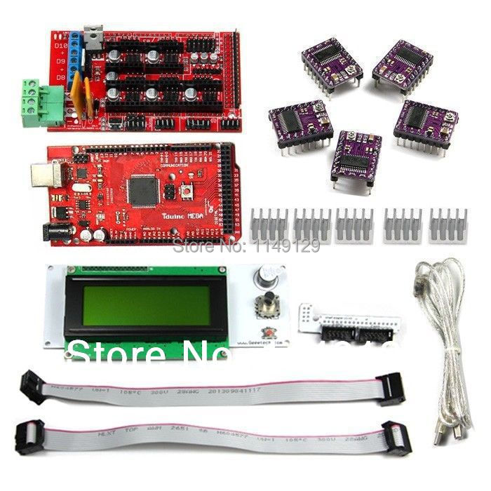 Geeetech LCD2004 controller display and LCD Adaptor + 5PCS DRV8825 Stepper Motor Driver + RAMPS1.4 Shield+ Iduino Mega2560 r3(China (Mainland))