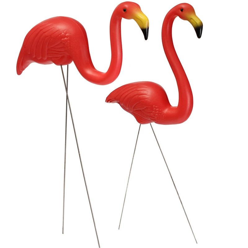 1 Pair Plastic Bright Red Flamingo Garden Yard and Lawn Art Ornament Wedding Ceremony Party Home Office Desk Table Decoration(China (Mainland))