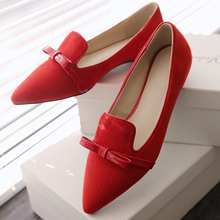 2016 spring and summer shallow mouth pointed low junction with butterflies frosted wedding mouthpiece fight skin ladies shoes