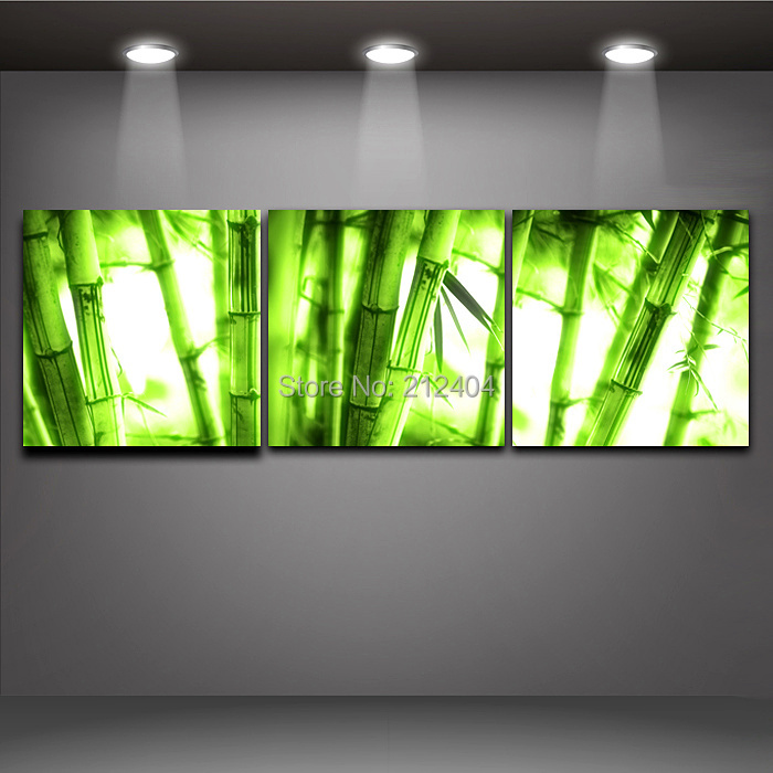 3 pieces modern art oil painting bamboo on canvas print for House decoration pieces