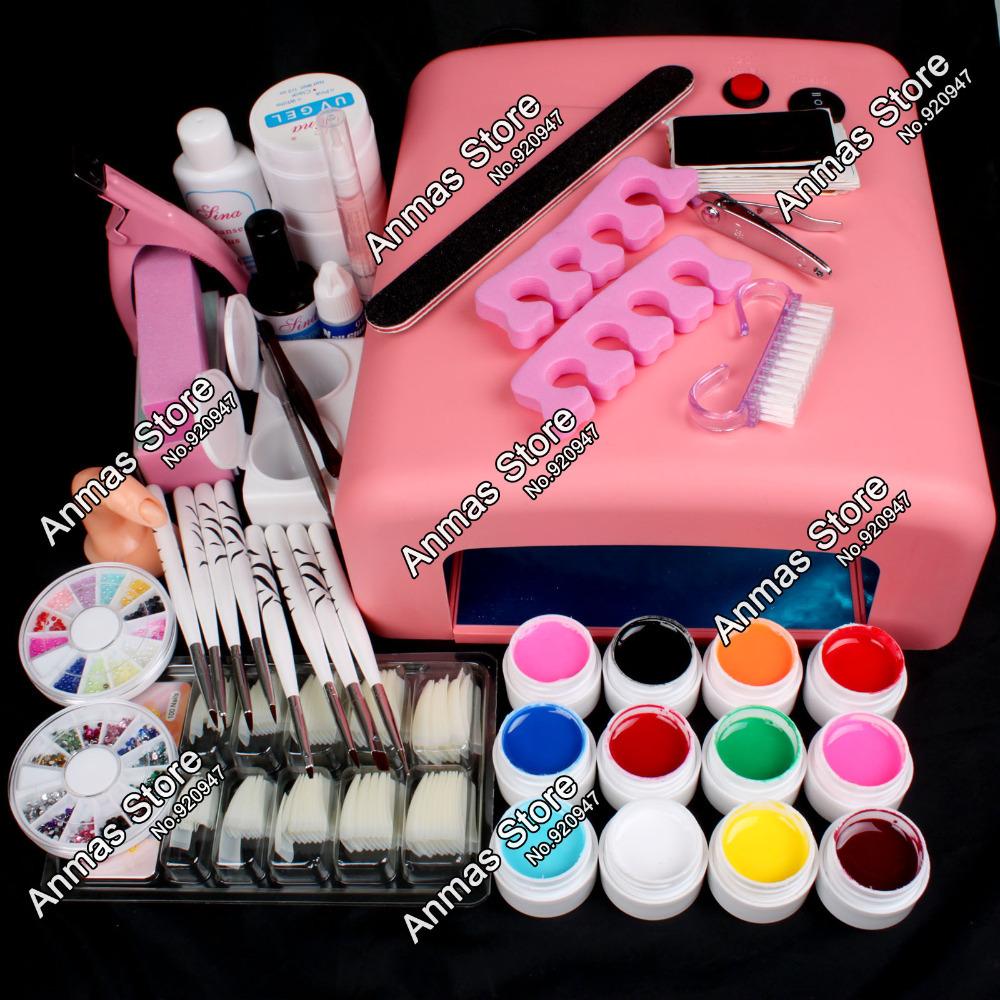 New Pro Nail Art 36W UV GEL Pink Lamp & 12 Color UV Gel Nail Art DIY tips Tool Kits Sets(China (Mainland))