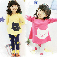 spring autumn fashion O-Neck children's set small cat style children girl two piece suit