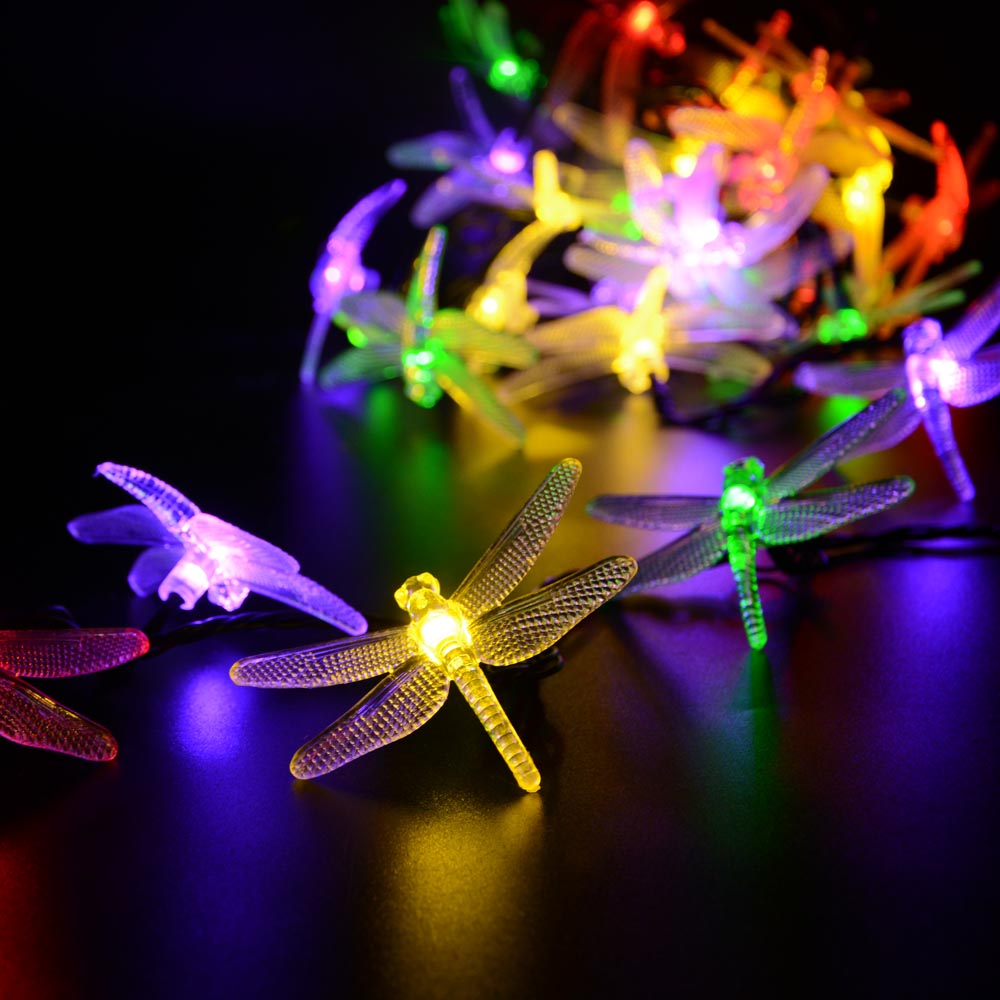 Outdoor Solar Led String Light 6M 30 LED Dragonfly Solar Panel Strip Light IP65 Waterproof Garden Decoration Lampes Solaires(China (Mainland))
