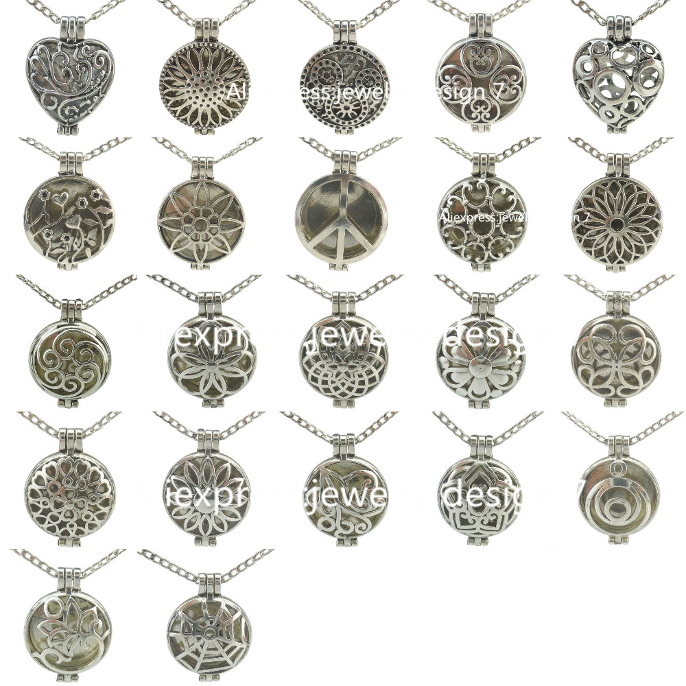 25mm Heart 30mm Round Silver Box Cage Pad Plate Locket Necklace Perfume Fragrance Essential Oil Aromatherapy Diffuser(China (Mainland))