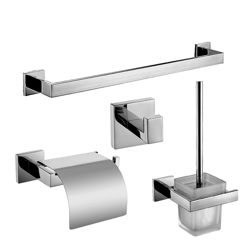 SUS 304 Chrome Finish Bathroom Accessories Stainless Steel Bathroom Hardware Set Towel Rack/ Paper Holder/Brush Holder/Coat Hook(China (Mainland))
