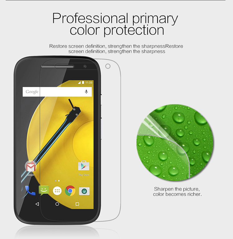 Whole set Nillkin Super Clear anti-fingerprint Protective film for MOTO E2 XT1505 add real package(China (Mainland))