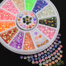 Colorful Fluorescent 3D Acrylic Glitters DIY Decal Nail Art Stips Stickers Wheel 4BTO