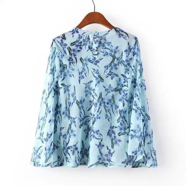 2015 new European blue hummingbird printing short chiffon shirt blouse kimono summer style blusas blouse Free shipping(China (Mainland))
