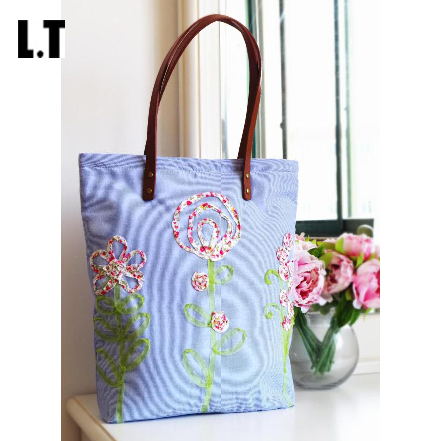 Women Ribbons Floral Embroidery Handbags Handmade Cotton Country Rustic Wedding Leather Handle Light Bule Totes Bags Etsy(China (Mainland))