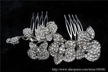 Luxury Wedding Orchid Flower Hair Comb Tiara Clear Rhinestone Crystal Bridal Hair Accessories For Women Jewelry