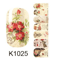 rose flower nail art sticker decorations beauty manicure full cover stickers for nails K1025 fingernail stickers ongles