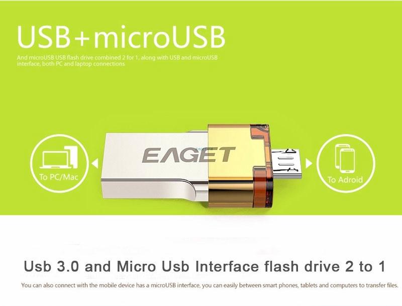 EAGET V80 Official 16G 32G 64G Smartphone USB 3.0 Flash Drive Pen Drive Micro USB otg usb stick Portable Memory Double Plug