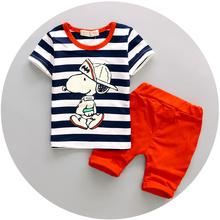 2016 Infant clothes toddler children summer baby boys clothing sets cartoon 2pcs Cartoon stripes clothes sets boys summer set(China (Mainland))