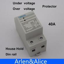 1 unids 40A 230 V Din rail recuperación automática reconexión sobre voltaje y bajo voltaje relé de protección del dispositivo de protección