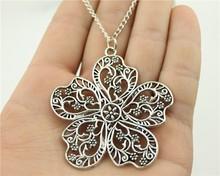 Buy 24pcs/lot Wholesale fashion 2 colors antique bronze, antique silver 56*52mm Large flowers pendant long chain necklace for $19.98 in AliExpress store