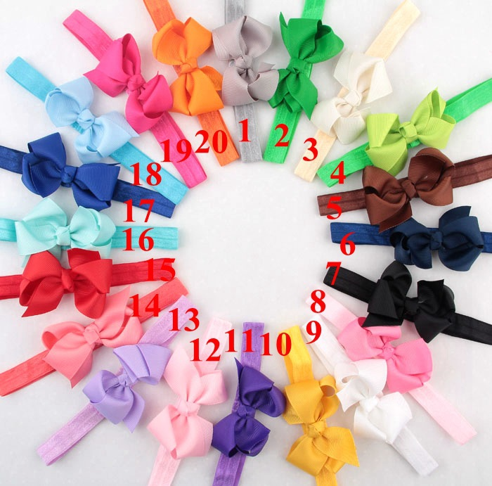 20 Colors baby girl headwraps Big Bow Turban Headband for Newborn Hair Baby Bowknot Headband 5pcs/lot(China (Mainland))