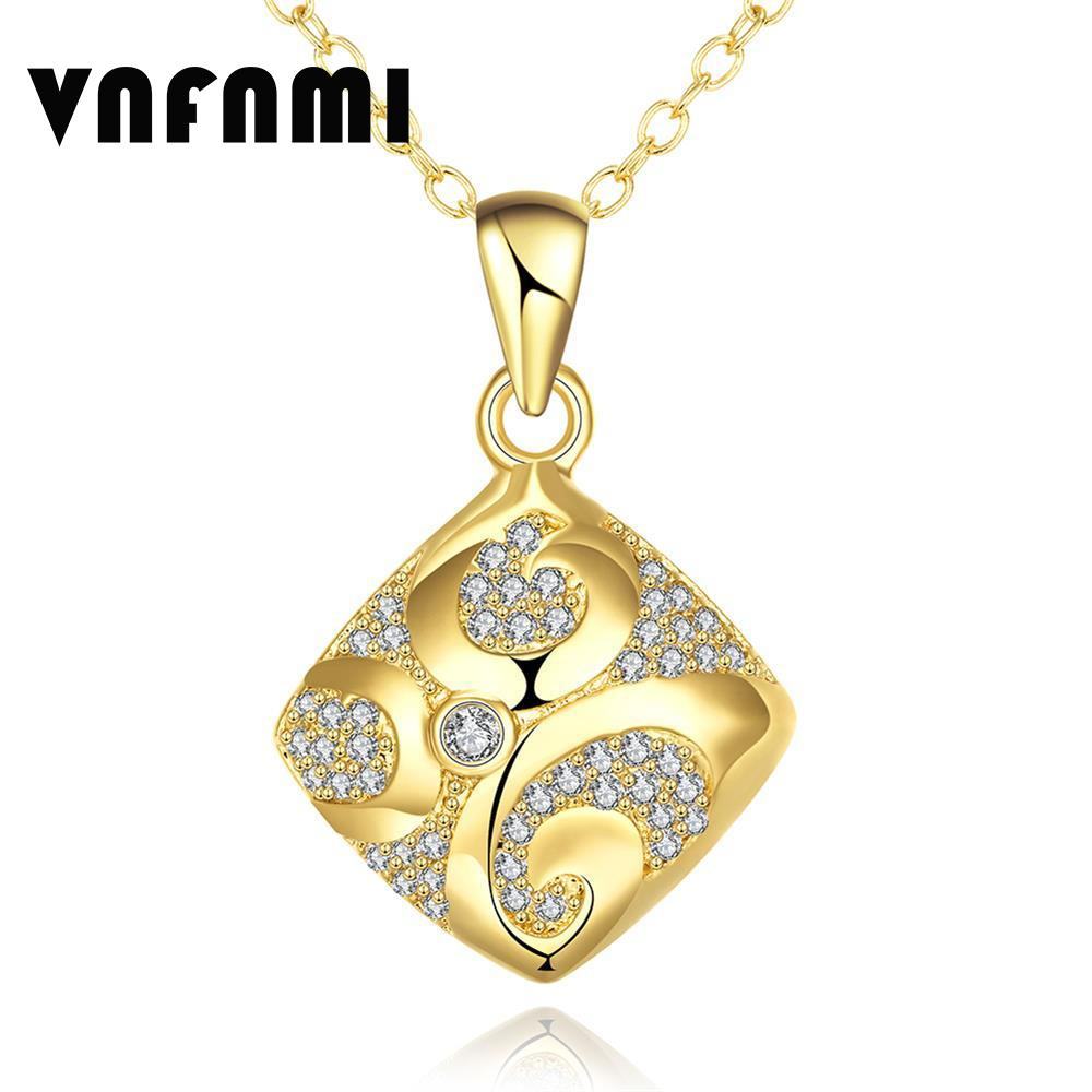 White CZ Cubic Zirconia Rhombus Pendant Necklace 18K Rose Gold/Gold Plated Austrian Crystal Necklace for Women Necklace De Plata(China (Mainland))