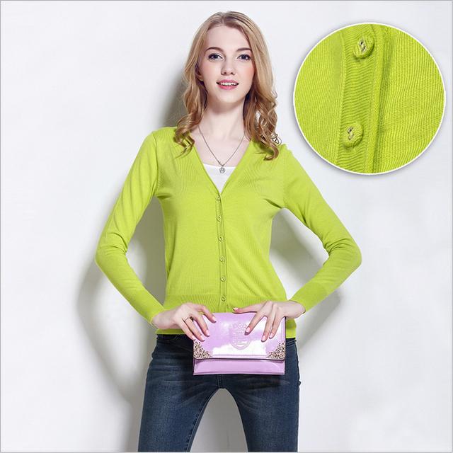 Высокое качество! осень-Весна все матч женщин вязаный свитер кардиган женский кондиционер ...