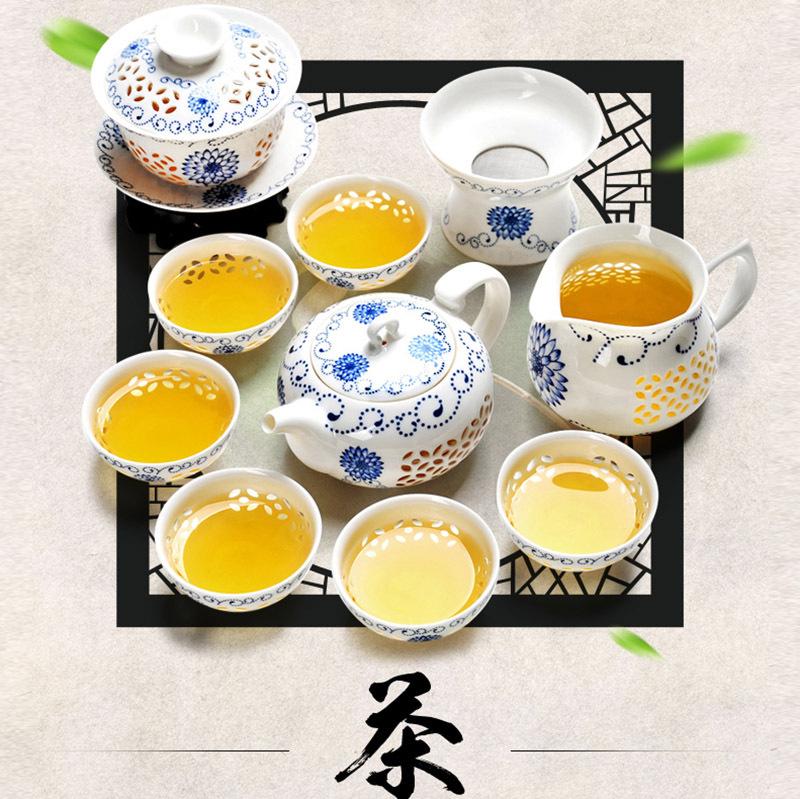 Free Shipping Rice-Pattern Decorated Porcelain Kung Fu Tea Set,Blue and White PorcelainTeaPot,Porcelain Filter Mug,Tea Ware(China (Mainland))