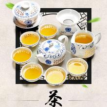 10 Pcs Kung Fu Tea Set,Ceramic Tea cup,Blue and White TeaPot,Bone China GaiWan,Tea Sea,Porcelain Filter Mug,Tea service(China (Mainland))