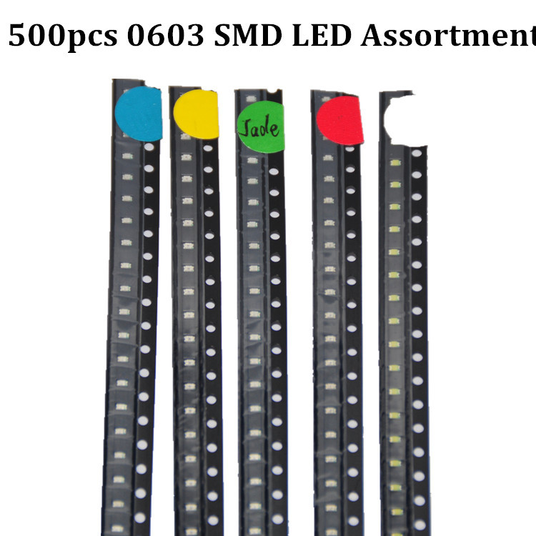 500pcs 0603 SMD LED Assortment 100pcs each Red/Green/Blue/Yellow/White LED Light Diode 0603 LED(China (Mainland))