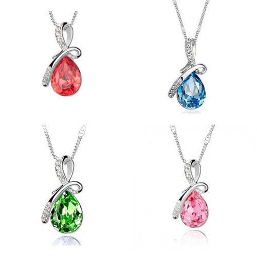 New 1 Pcs Lot 5 Colors Elegant Women Lady Girl Angel Tear Drop Crystal Necklace Pendant Chain Jewelry Wholesale Freight(China (Mainland))