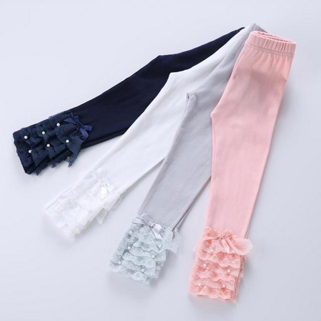 Новые Девушки Кружевные леггинсы детские бусы брюки Дети Девушки теленка длина брюки 4 цветов