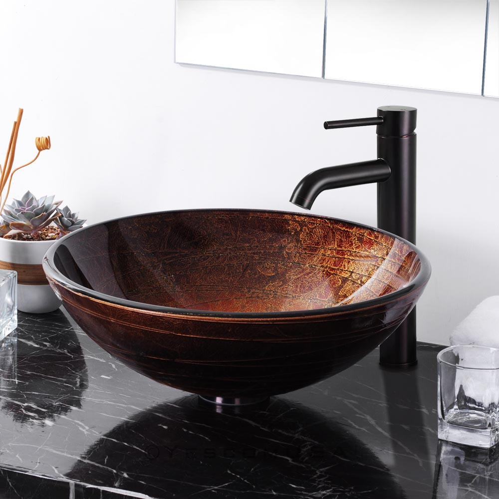 Sink Bathroom Lavatory Round Bowl Pattern Basin-in Bathroom Sinks ...