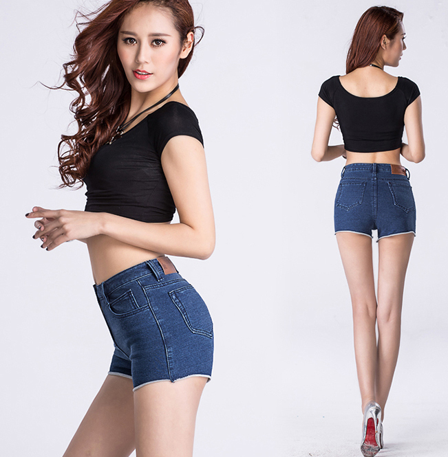 Sexy Fashion Women Denim Shorts High Waist Female Roll Edge Jeans Shorts Black/Blue Colors For Selection(China (Mainland))