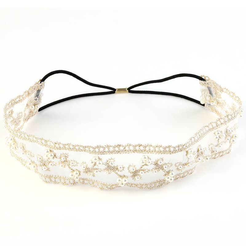 1PC Lady Lace Pearl Headband Hairband Elastic Head Wrap Women Elegant Chic Headwear(China (Mainland))