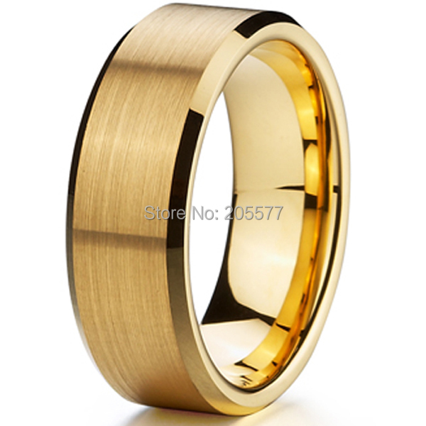2015 high quality 18k gold Ion plating genuine pure 8mm titanium mens fashion jewelry wedding bands rings men mens aneis de ouro(China (Mainland))