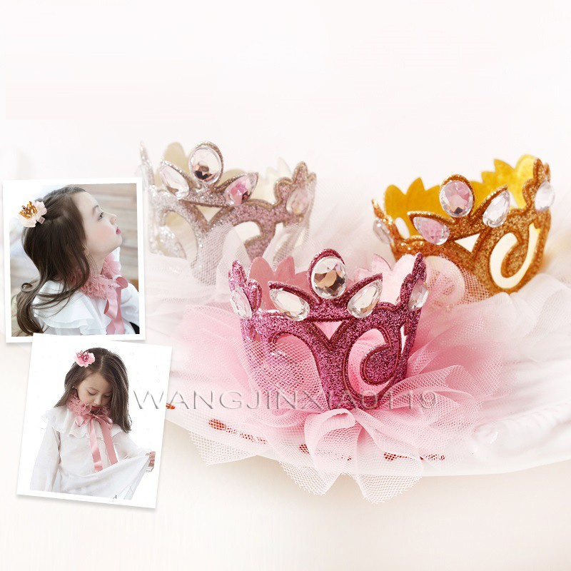 Lovely Pink Princess Crown HairClip Prefect Christmas Present Birthday Party Gifts Gold Glitter Tiara Crystal Hair pin