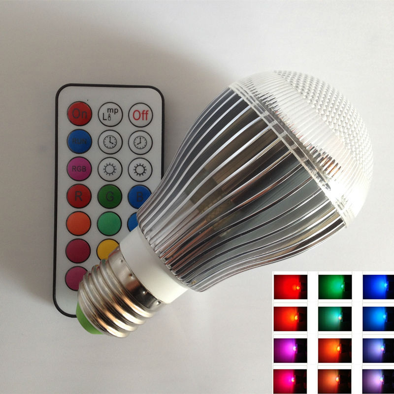 9W High Power RGB LED Light bulb with Remote Control, 2 Million Colors,120 Levels Brightness<br><br>Aliexpress