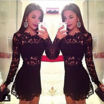 New Vestido de festa Women Black Party Dresses Sexy Lace Dress Long Sleeve Celebrity Bandage Bodycon Gown Vestidos Femininos(China (Mainland))