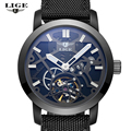 LIGE Sport Watch Men s Luxury Brand Relogio Masculino Military Mechanical Watches Leather Hollow Skeleton clock