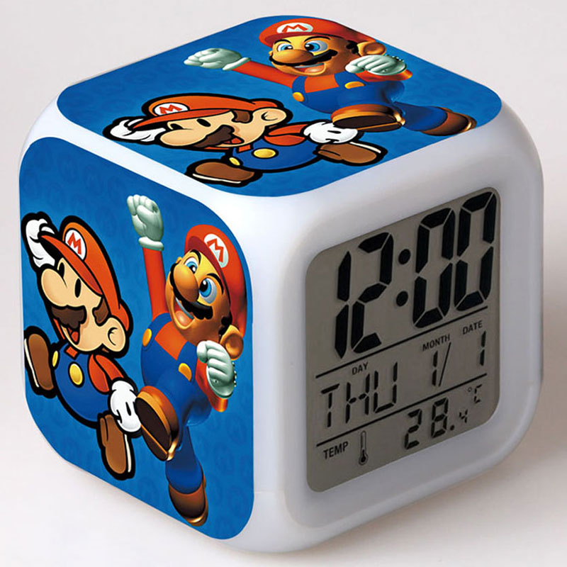 Super Mario Bros Luigi Mario Yoshi Clock Alarm With Colorful Luminous Light Thermometer PVC Action Figures Toys(China (Mainland))