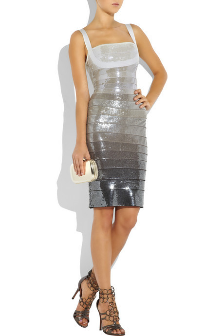 Free Shipping Short Sequin Party Dresses 2015 New Gorgeous Shining Plus Size Sequin Ombre Bandage Dress(China (Mainland))