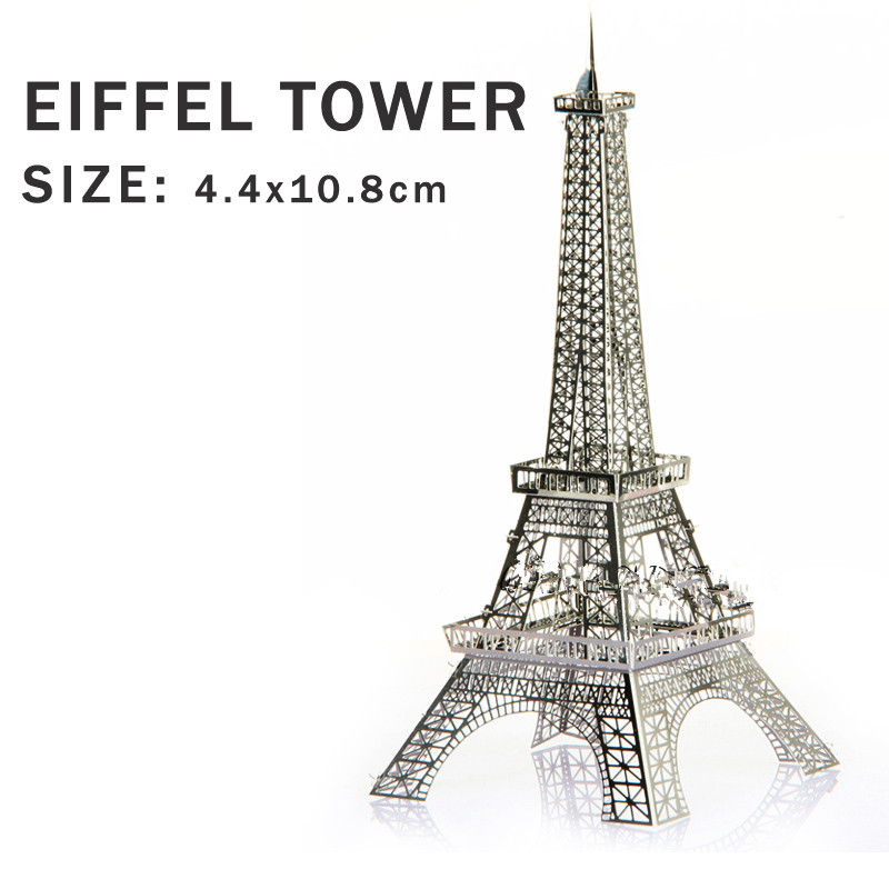Real details New creative Eiffel Tower 3D puzzles 3D metal Building model Creative DIY Iron tower Jigsaws Tower Paris(China (Mainland))