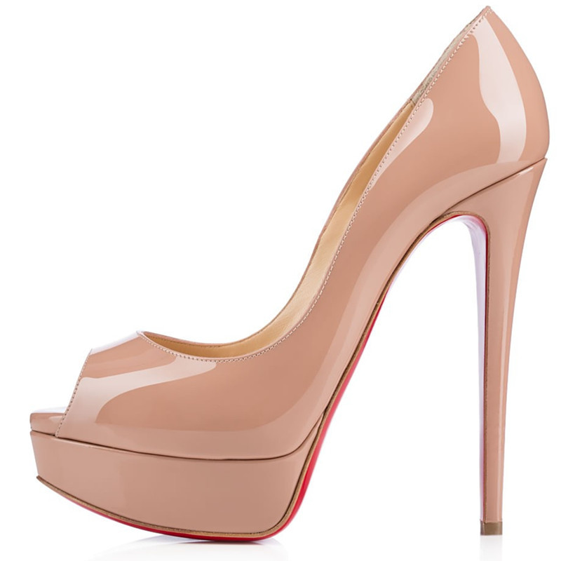 women pumps fashion genuine leather nude color stiletto high heels peep toe platform lady prom wedding shoes(China (Mainland))