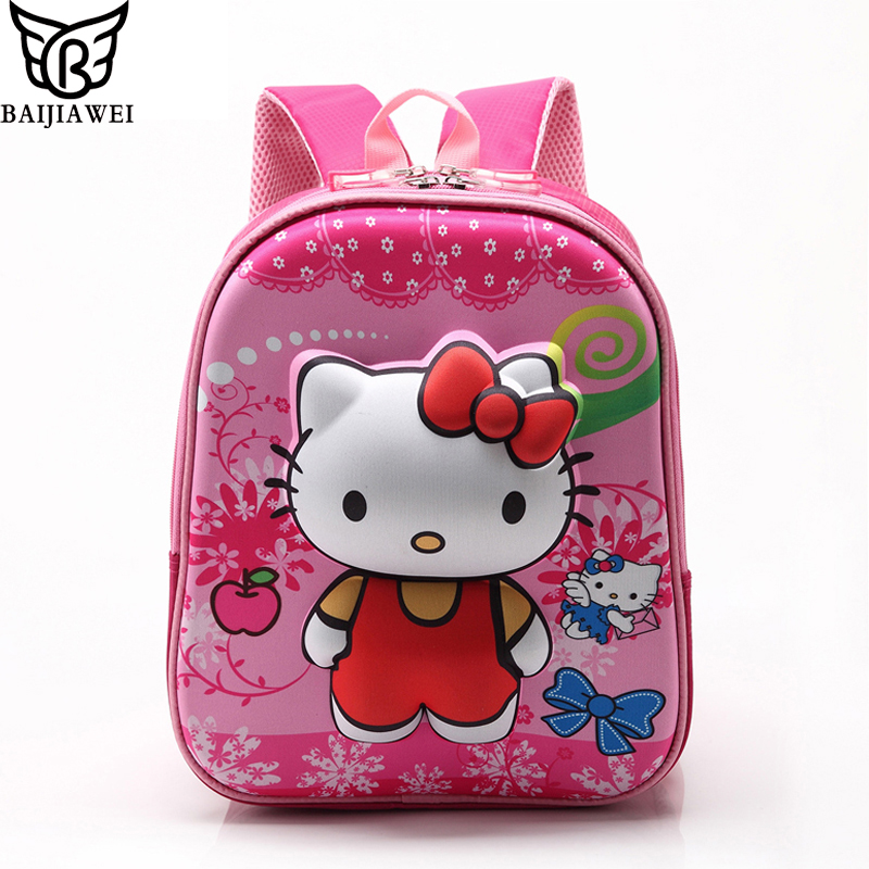 BAIJIAWEI 2017 Rose Red Hello Kitty Backpacks Plush Cartoon Toy Backpack Girl Character School Bag Kids Mochila Infantil Bag(China (Mainland))