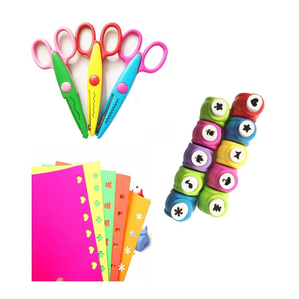 10PCS Craft Punch+3PCS Creative Scissors+50PCS Colorful Self Adhesive Paper for Card Scrapbooking Engraving Kid Cut DIY Handmade(China (Mainland))