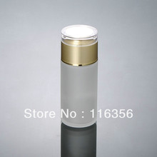 100ML  frosted glass lotion bottle with golden lid for cosmetic packaging